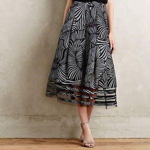 Anthropologie Nightblossom Midi Skirt